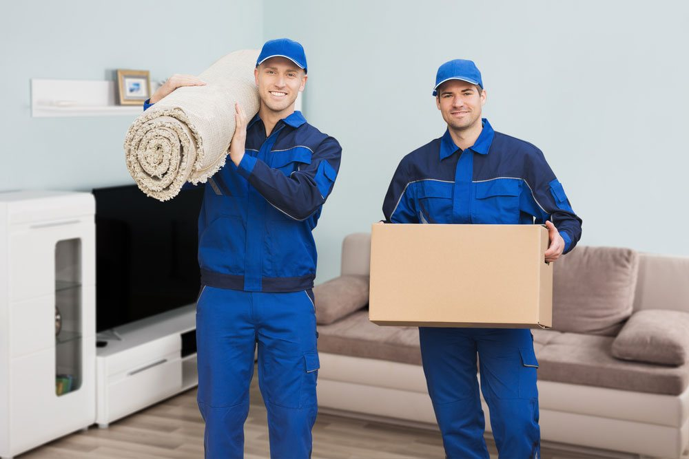 two removalists carrying a cardboard box and a rug