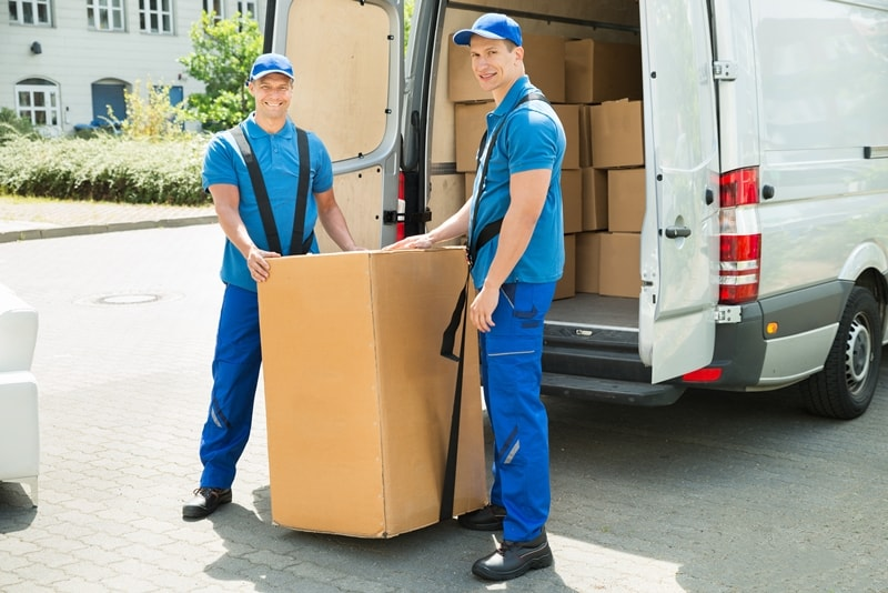 two men moving a heavy cardboard box using a rubber harness